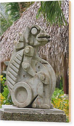 Wood Print featuring the photograph Intriguing Taino Sculpture by Karen Lee Ensley