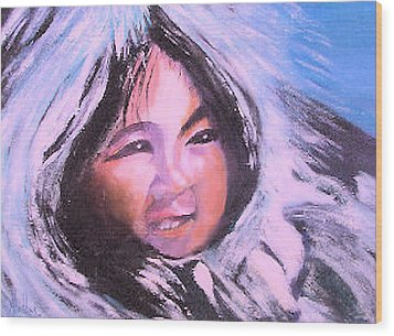 Wood Print featuring the painting Inupiaq Eskimo Child by Alethea McKee