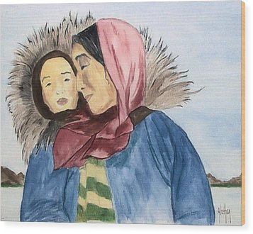 Wood Print featuring the painting Inupiaq Eskimo Mother And Child by Alethea McKee