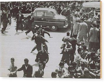 Iranian Police Assaulting School Wood Print by Everett