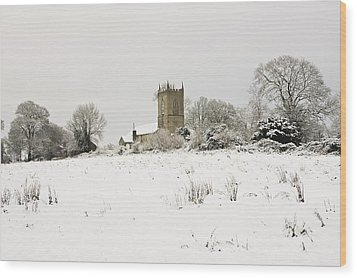Ireland Winter Landscape With Church Wood Print by Peter McCabe