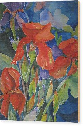 Iris Ablaze Wood Print