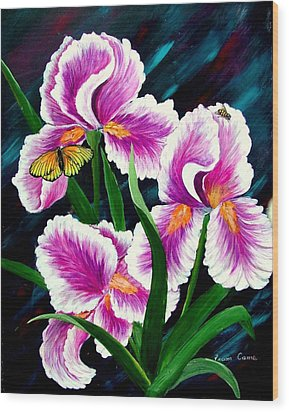 Iris And Insects Wood Print by Fram Cama