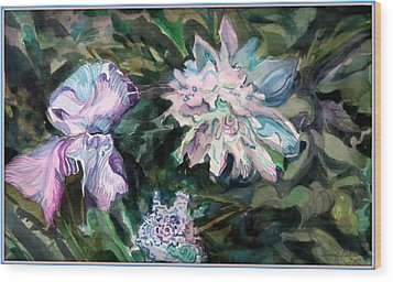 Iris And Peonies Wood Print by Mindy Newman