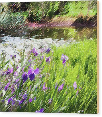 Iris And Water Wood Print by Linde Townsend