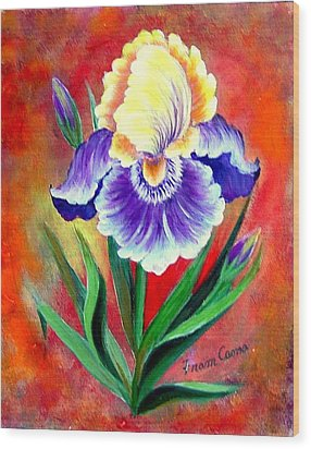 Iris Wood Print by Fram Cama
