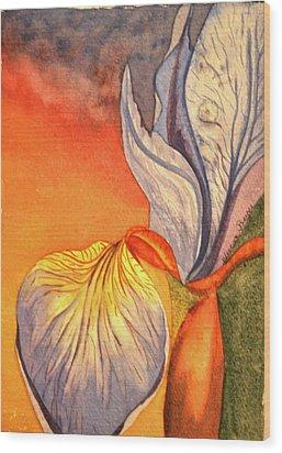 Wood Print featuring the painting Iris Moody by Teresa Beyer