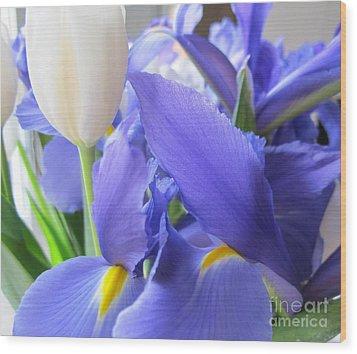 Wood Print featuring the photograph Iris Petal by Arlene Carmel