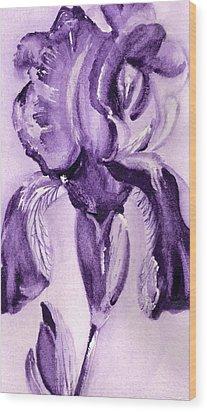 Iris Study In Purple Wood Print