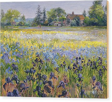 Irises And Two Fir Trees Wood Print by Timothy Easton