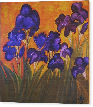 Irises In Motion Wood Print