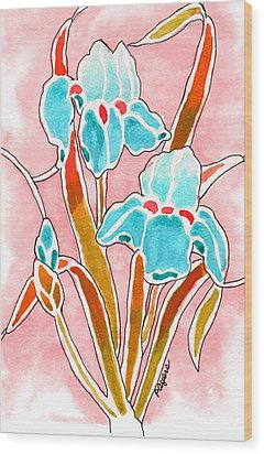 Wood Print featuring the painting Irises With An Attitude by Paula Ayers