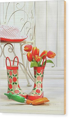 Iron Chair With Little Rain Boots And Tulips  Wood Print by Sandra Cunningham