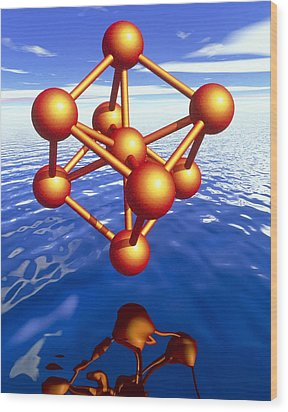 Iron Molecule Over Water Wood Print by Pasieka