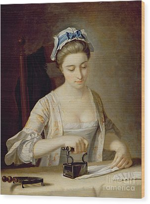 Ironing Wood Print by Henry Robert Morland