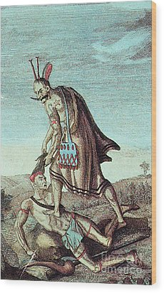 Iroquois Warrior Scalping Enemy, 1814 Wood Print by Photo Researchers
