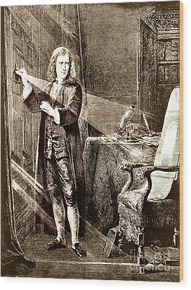 Isaac Newton Ray Of Light Wood Print by Science Source