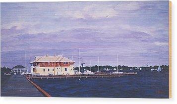 Island Heights Yacht Club Wood Print by Robert Henne