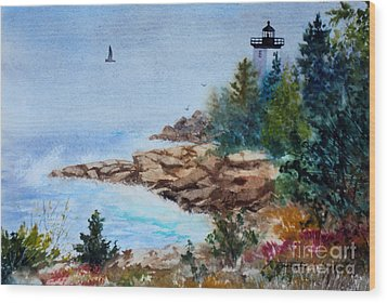 Island Light Wood Print by Laura Tasheiko