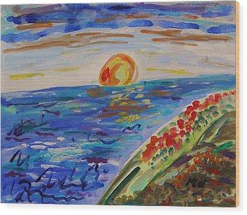 Island Poppy Sundown Wood Print by Mary Carol Williams