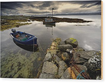 Islay, Scotland Two Boats Anchored By A Wood Print by John Short