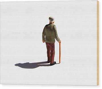 Isolated Old Man. Wood Print by Bernard Jaubert