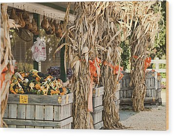 Isoms Orchard In Fall Regalia Wood Print by Kathy Clark