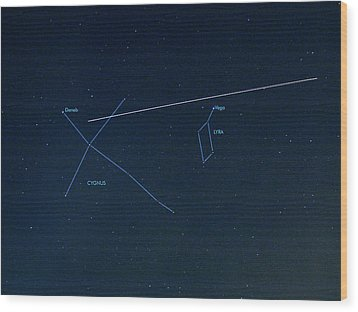 Iss Light Trail And Constellations Wood Print by Detlev Van Ravenswaay