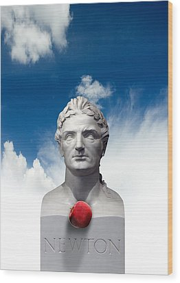 Issac Newton And The Apple, Artwork Wood Print by Victor Habbick Visions