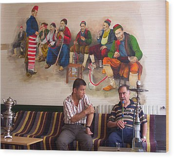 Wood Print featuring the photograph Istanbul Smokers by Lou Ann Bagnall