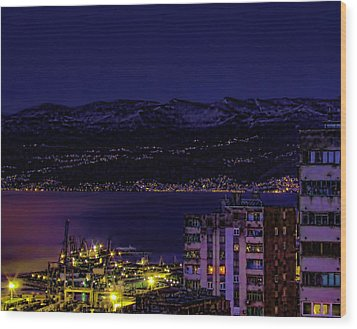 Istrian Riviera At Night Wood Print by Jasna Buncic