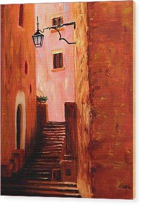 Italian Alley Wood Print by Suzzanna Frank
