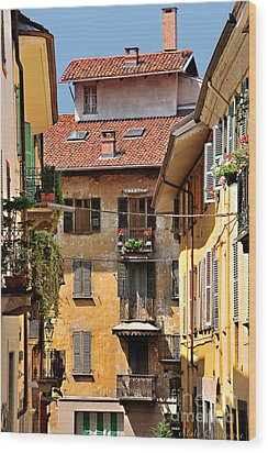 Italian Balconies Wood Print by Malu Couttolenc