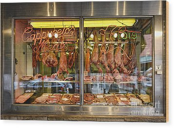 Italian Market Butcher Shop Wood Print by John Greim