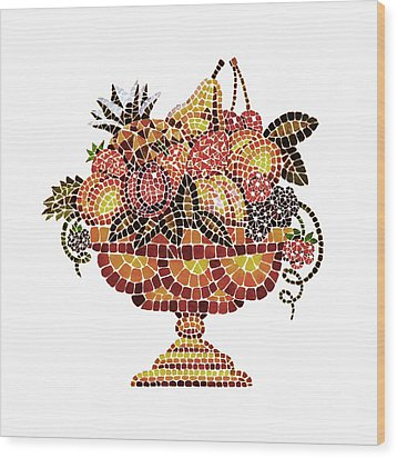 Italian Mosaic Vase With Fruits Wood Print by Irina Sztukowski