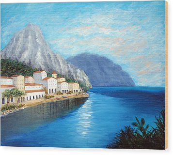 Wood Print featuring the painting Italian Panorama by Larry Cirigliano