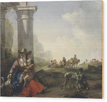 Italian Peasants Among Ruins Wood Print by Jan Weenix