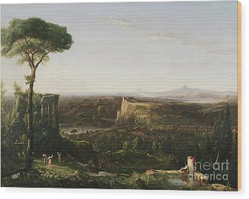 Italian Scene Composition Wood Print by Thomas Cole