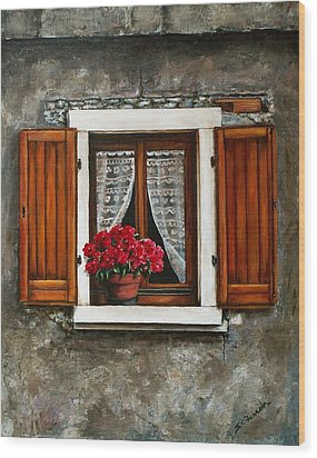 Italian Window Wood Print by Sarah Farren