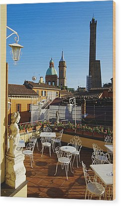 Italy, Bologna,towers Degli Asinelli And Garisenda Wood Print by Bruno Morandi