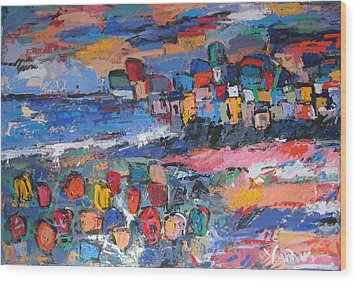 Italy With Flowers Wood Print