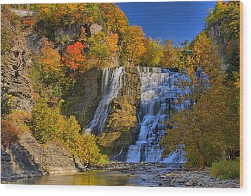 Ithaca Falls In Autumn Wood Print by Matt Champlin