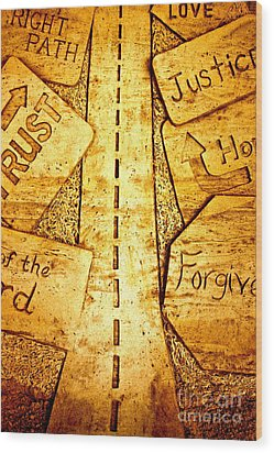 It's A Long Road Wood Print by Ted Wheaton