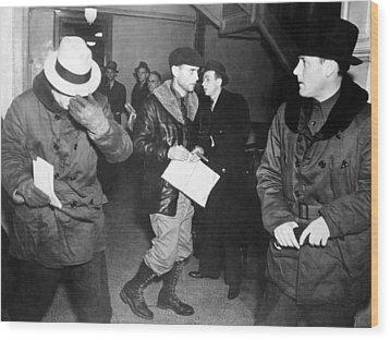 J. Edgar Hoover Arriving In St. Paul Wood Print by Everett