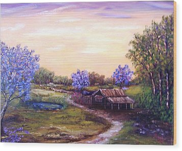 Wood Print featuring the painting Jacarandas by Renate Voigt