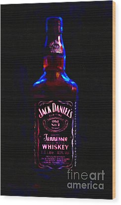 Jack Daniel's Tennessee Whiskey 80 Proof - Version 2 - Painterly Wood Print by Wingsdomain Art and Photography