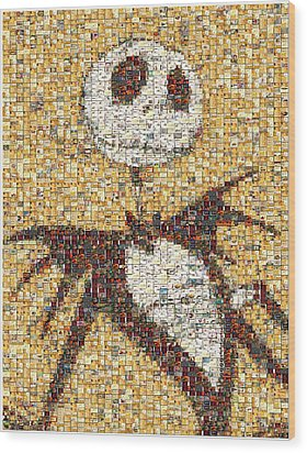 Jack Halloween Mosaic Wood Print by Paul Van Scott