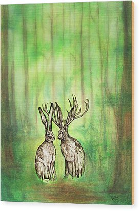 Into The Woods Wood Print by Carrie Jackson