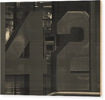 Jackie Robinson 42 In Sepia Wood Print by Rob Hans