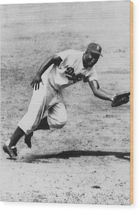 Jackie Robinson, Fielding Third Base Wood Print by Everett